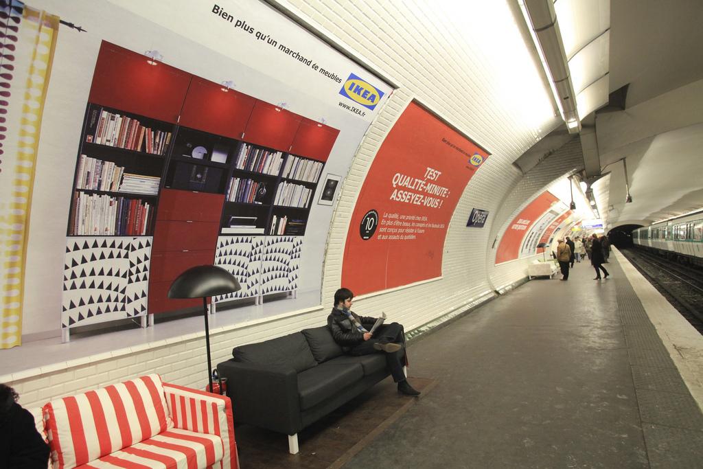 ikea takes over paris metro anna brones. Black Bedroom Furniture Sets. Home Design Ideas