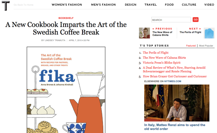 Fika: The Art of the Swedish Coffee Break featured in New York Times